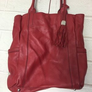 Red Leather B. Makowsky Tote